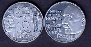 Bon CœUr ★★ Jolie Copie De L'essai Aluminium De Galle De La 10 Francs 1941 Petain ★★