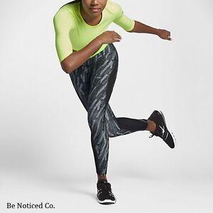 Nike-Pro-HyperCool-Graphic-Women-039-s-Training-Tights-XS-M-Black-Volt-Gym-Yoga-New