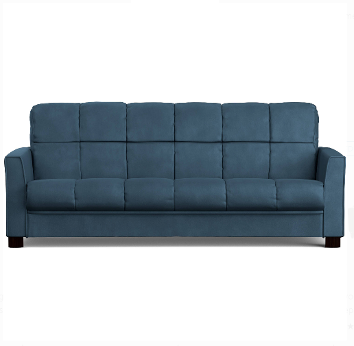 Futon Sofa Bed Sleeper Convertible Couch Lounger Blue Microfiber Full Size  Plus