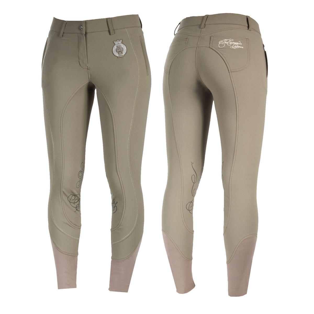 Señoras horze inglés crescendo Kiana Caqui Bronceado Equitación Pantalones de Montar venta de parches de la rodilla