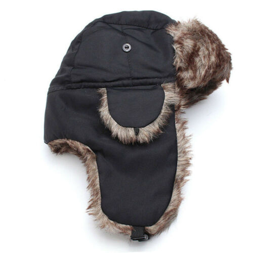 Adult Men Winter Trapper Aviator Trooper Earflap Warm Russian Ski Hat Fur Bomber