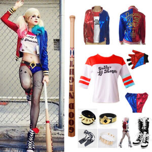Harley-Quinn-Suicide-Squad-Cosplay-Jacket-Shorts-Boots-Costume-Accessories-Lot