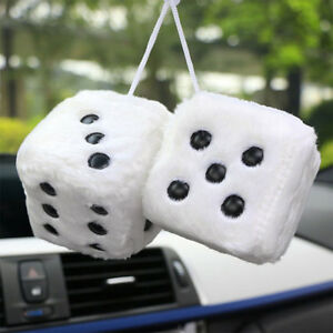Hang-Fuzzy-Furry-Vintage-Pair-Car-White-Hanging-Mirror-2-55-034-Charm-Dice-A-Pair-Q