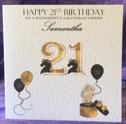 Personalised Girls 18th 21st Birthday Card Black Gold Unicorn Teen Adult