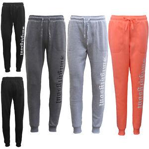 Mens-Womens-Fleece-Lined-Track-Pants-Sport-Suit-Slim-Cuff-Trackies-Slacks-Jogger