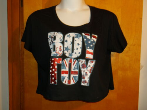 "BRAND NEW LADY/'S /"" RAG N STITCH/"" BLACK /""BOY TOY/""  SCOOP NECK  S//S  PULLOVER"