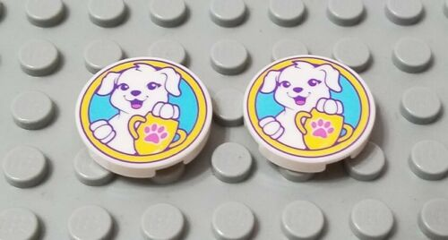 LEGO New Lot of 2 White 2x2 Round Tile Pieces White Puppy Dog and Trophy