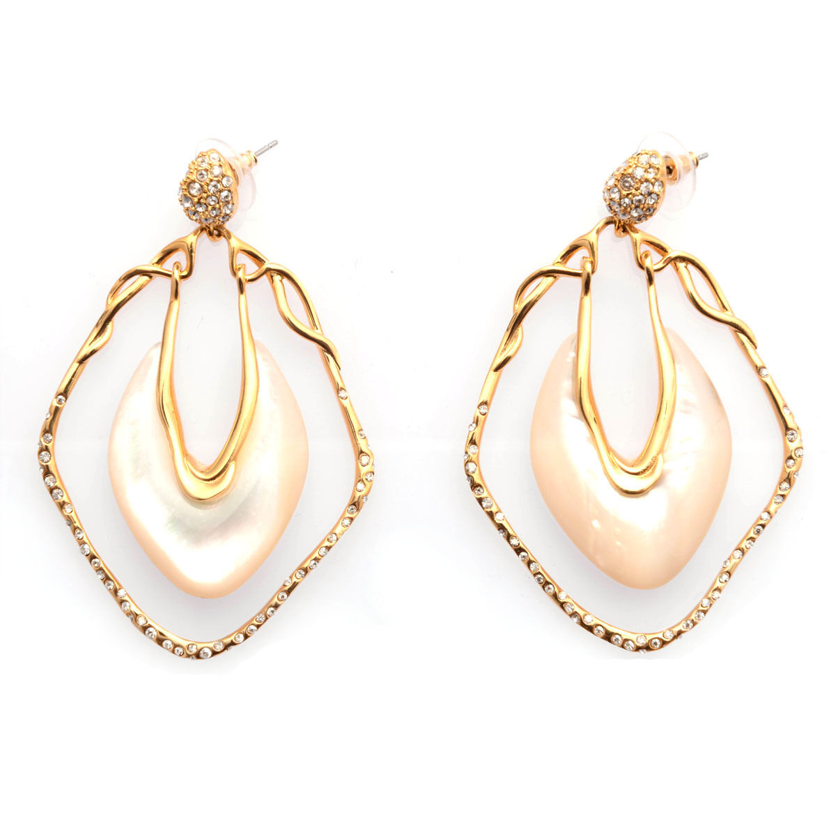 De Buman 18k Yellow gold Plated Mother-of-Pearl and Crystal Earrings