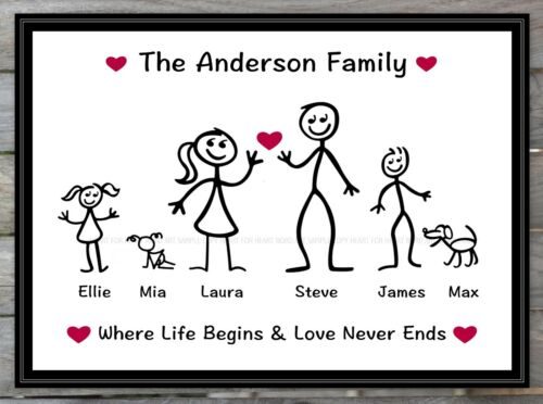 Fathers Day Gift Family Tree Personalised Stick Him Her Word Art Mum Dad Friends