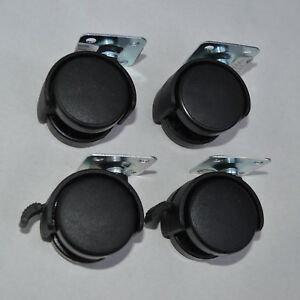 4-Moebelrollen-40mm-drehbar-2-St-mit-Bremse-Metallplatte-Raeder-Rollen-Lenkrolle