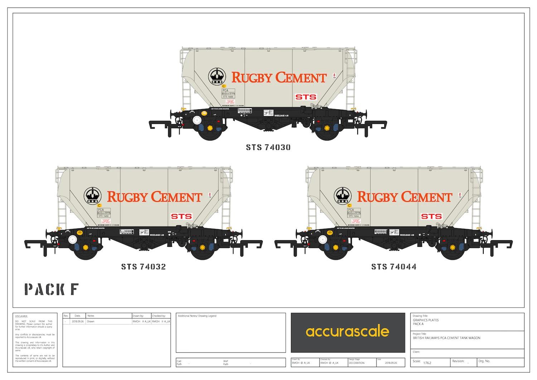 Accurascale 2025RGF OO Gauge Rugby Ceessit PCA Wagon Triple Pack F