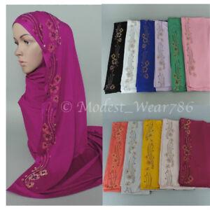 100% De Qualité Premium En Coton Jersey Maxi Hijab écharpe Voile Floral Strass 170x75 Cm-afficher Le Titre D'origine Un RemèDe Souverain Indispensable Pour La Maison