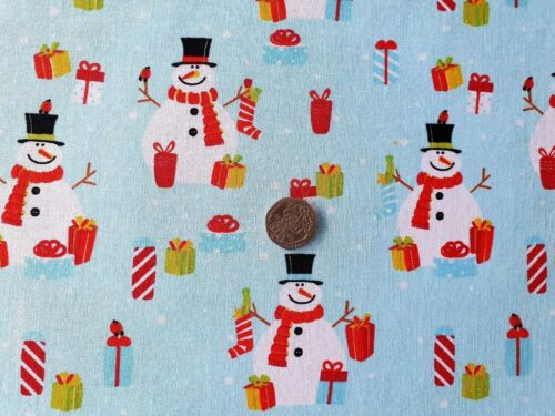 Top Quality 100/% Cotton Poplin Fabric by Rose /& Hubble-Christmas Snowmen-1 Metre
