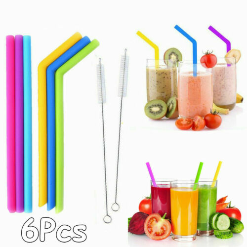 Bubble Tea 6x Silicone Reusable Extra Long /& Wide Straws Smoothies 2 Brushes