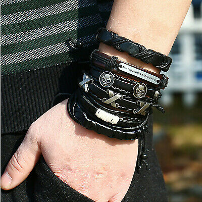 Details about  /6pcs Men Punk Genuine Leather Braided Bracelet Alloy Skull Wristband Cuff Bangle
