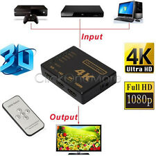 3D 5 Port 4K HDMI Switcher Switch Selector Splitter Hub iR Remote For HDTV 1080p