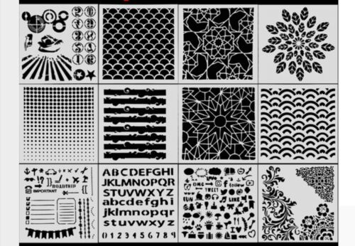 12er Set Schablonen tolle Muster auch für Scrapbook und Mixed Media geeignet