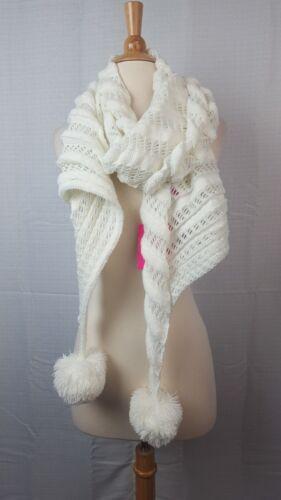 Betsey Johnson Wrap It Up Open Knit Metallic Pom Pom Scarf Ivory #C282