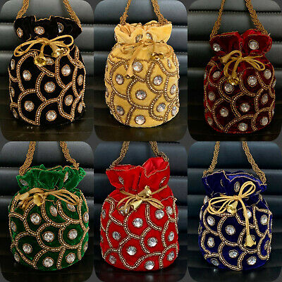 Radient Bollywood Celebrity Style Oro Potli Bridal Clutch Bags Matrimonio Indiano Accessorio-mostra Il Titolo Originale