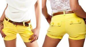 Sexy-Miss-Ladies-Hip-Hot-Pants-Fabric-Shorty-Shorts-Belt-34-M-36-L-38-Yellow