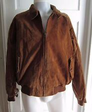 Orvis Leather Suede Harrington Plaid Lined A-2 Flight Bomber Jacket Mens Large L