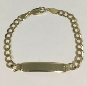 c4e7f5f6605bf Details about 14k Yellow Gold Cuban Link Baby Children's ID Bracelet FREE  ENGRAVING!!!!