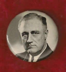 "BOLD BLACK AND WHITE FRANKLIN D. ROOSEVELT CAMPAIGN PINBACK 1 1/4"" CELLULOID"