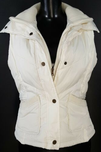 Button Vest Winter Zip Kvinders Snap Puffer Størrelse Lille Tahari White Quilted Up BaSxO