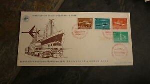 OLD-INDONESIA-STAMP-ISSUE-FDC-1964-TRANSPORTATION-SET-OF-4-STAMPS