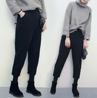 Winter Korean Women Harem Causal  Loose Wool Baggy Ninth Pencil Pants Trousers