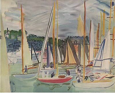"""1953 Vintage Full Color Art Plate /""""HARBOR AT DEAUVILLE/"""" by DUFY RARE Lithograph"""