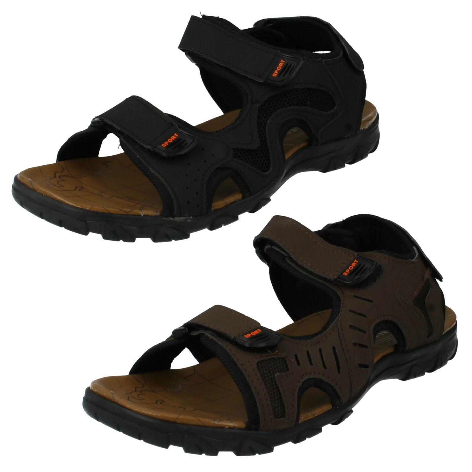 Mens black/brown maverick open toe sandals a0r041