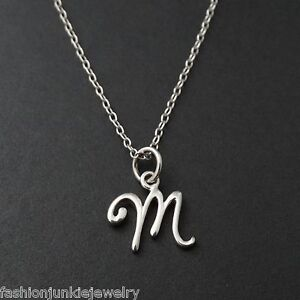 Tiny initial letter m necklace 925 sterling silver name m image is loading tiny initial letter m necklace 925 sterling silver aloadofball Image collections
