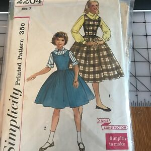 2204 Simplicity Collectable Simple 1950's Child's Blouse & Jumper Pattern Size 7
