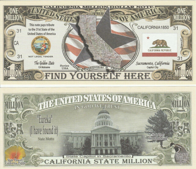 Alaska State Million Dollar Bill Fake Play Funny Money Novelty Note FREE SLEEVE