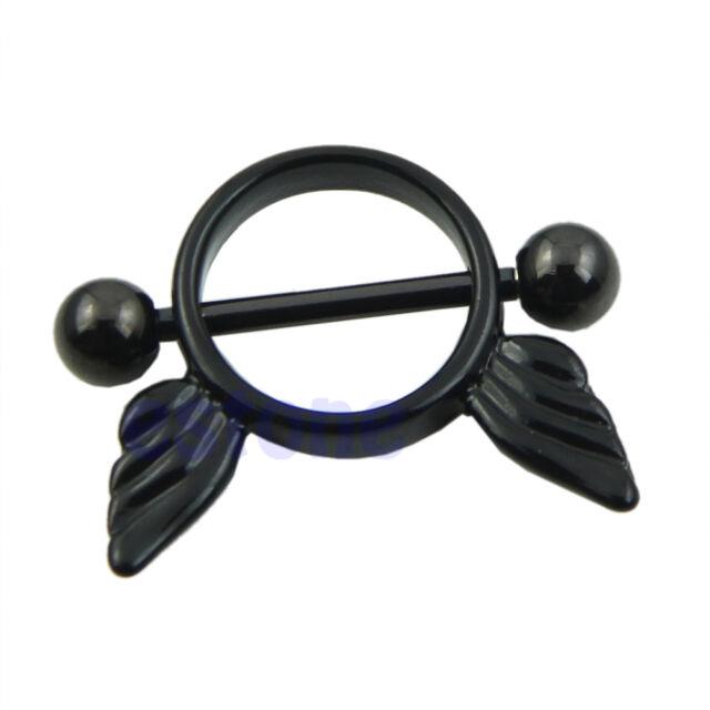 Black Round Angel Wings Rhinestone Belly Nipple Ring Body Button Bars Jewelry