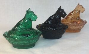 Boyd-Art-Glass-Set-Of-Three-Scottie-Dog-Covered-Salts-First-Three-In-The-Series
