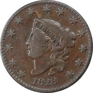 1828-1c-Coronet-Head-Large-Cent-Penny-Coin-VF-Very-Fine