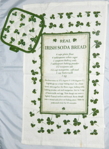 Irish Soda Bread Tea Towel Recipe and Pot holder Kitchen T Towel Cotton 8002A