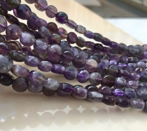 New 4x6mm Faceted Natural Russian Amethyst Coin Gemstone Loose Beads 15/""