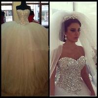 Neu Weiß Brautkleid Tüll Kristall Hochzeitskleid Abendkleid Ballkleid Partykleid