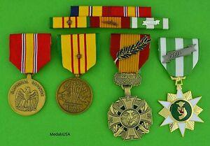 MARINE-CORPS-VIETNAM-4-MEDALS-MOUNTED-5-RIBBON-BAR-USMC-1-Campaign-Star-T1