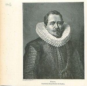 Portrait-de-Jean-Charles-de-Cordes-Pierre-Paul-Rubens-GRAVURE-ANTIQUE-PRINT-1880