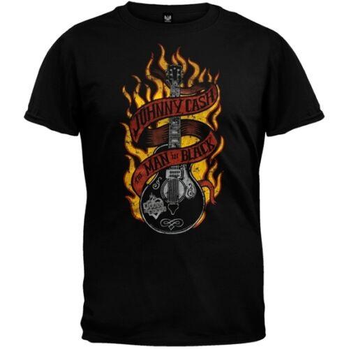 Guitar Flames Adult Mens T-Shirt Johnny Cash