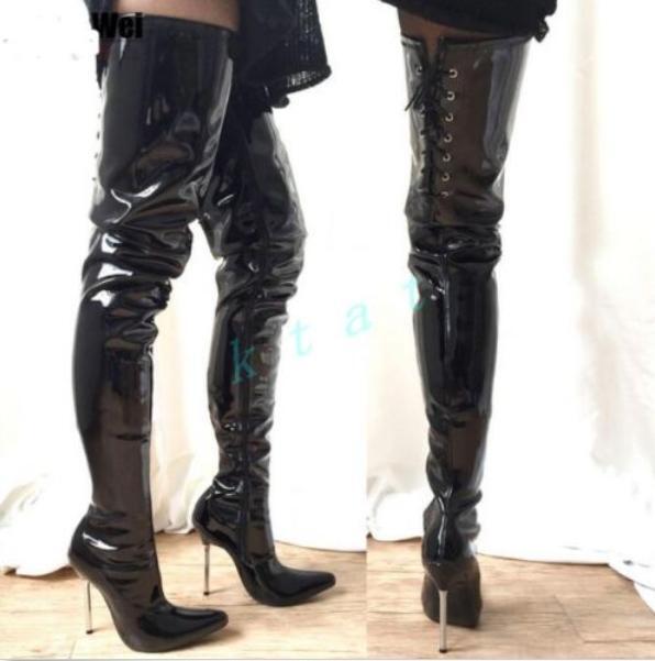 Mujeres botas altas sobre la rodilla alto alto alto del muslo Estilete Cuero danza zsell  venta directa de fábrica
