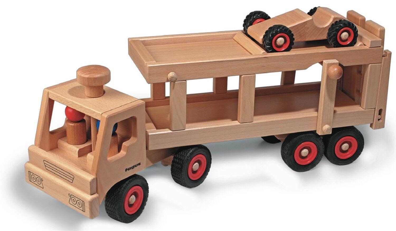 Fagus Classic - Autotransporter 10.49 Holzfahrzeug mit 2 Püppchen und 1 Auto