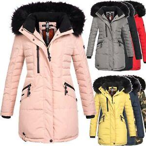 Details zu Navahoo Jacke Winter Damen Mantel Winterjacke warm gefüttert Kapuze Parka OMELYA