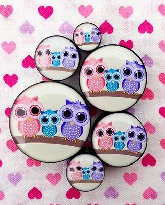 1 x Cute Owl Ear Plugs Tunnels Gauges- 5mm - 30mm (One Piece, Not a Pair)