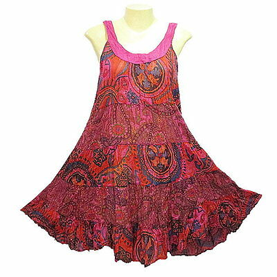 Peasant Boho Hippie Tier Sleeveless Colourful Short Cotton Dress - YO891