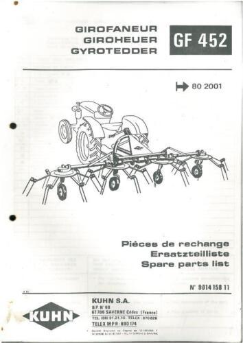 Kuhn Gf 452 gyrotedder-gf452 Manual De Piezas